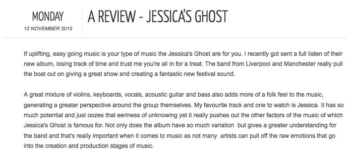 The Music Manual Jessicas Ghost album review
