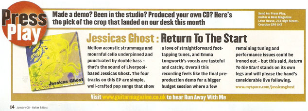 Guitar and Bass Magazine Jessicas Ghost EP review