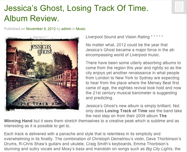 Liverpool Sound & Vision Jessicas Ghost album review