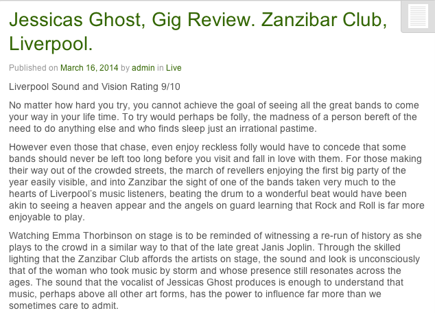 Liverpool Sound & Vision Jessicas Ghost live gig review